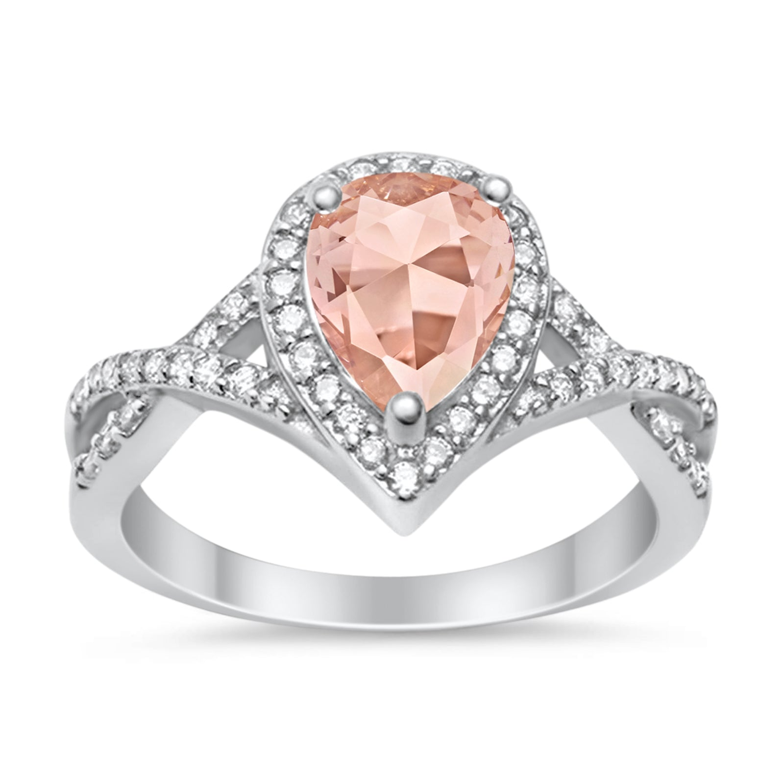Teardrop Wedding Promise Ring Infinity Round Simulated Morganite CZ 925 Sterling Silver