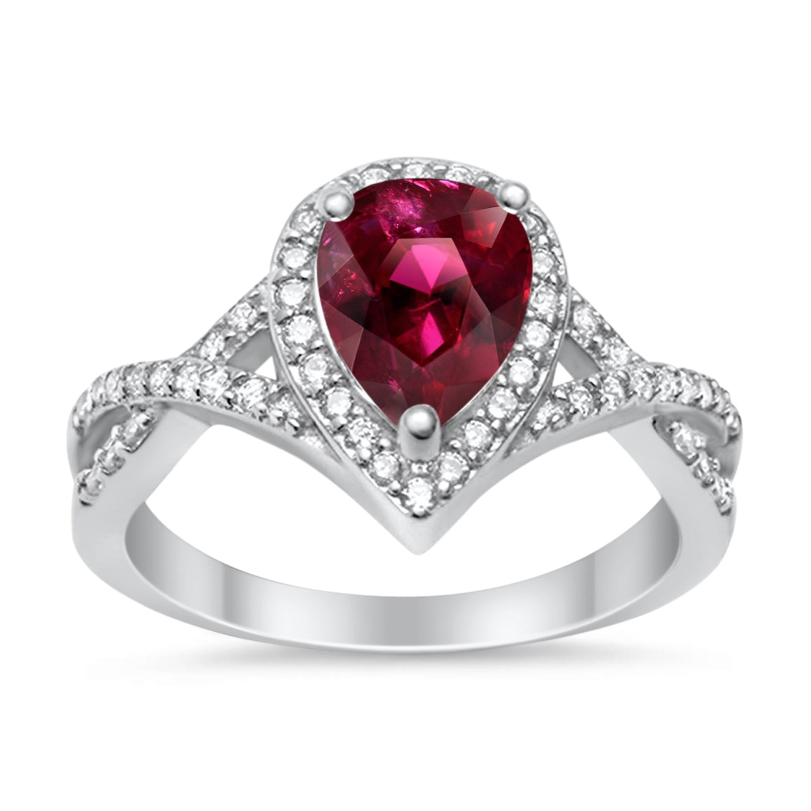 Teardrop Wedding Promise Ring Infinity Round Simulated Ruby CZ 925 Sterling Silver