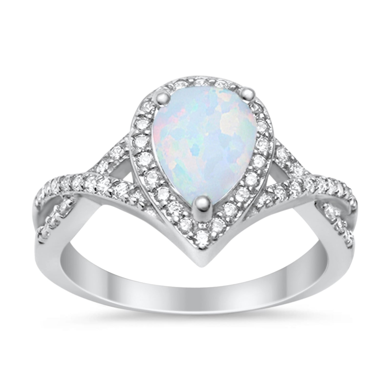 Teardrop Wedding Promise Ring Infinity Round Lab Created White Opal 925 Sterling Silver