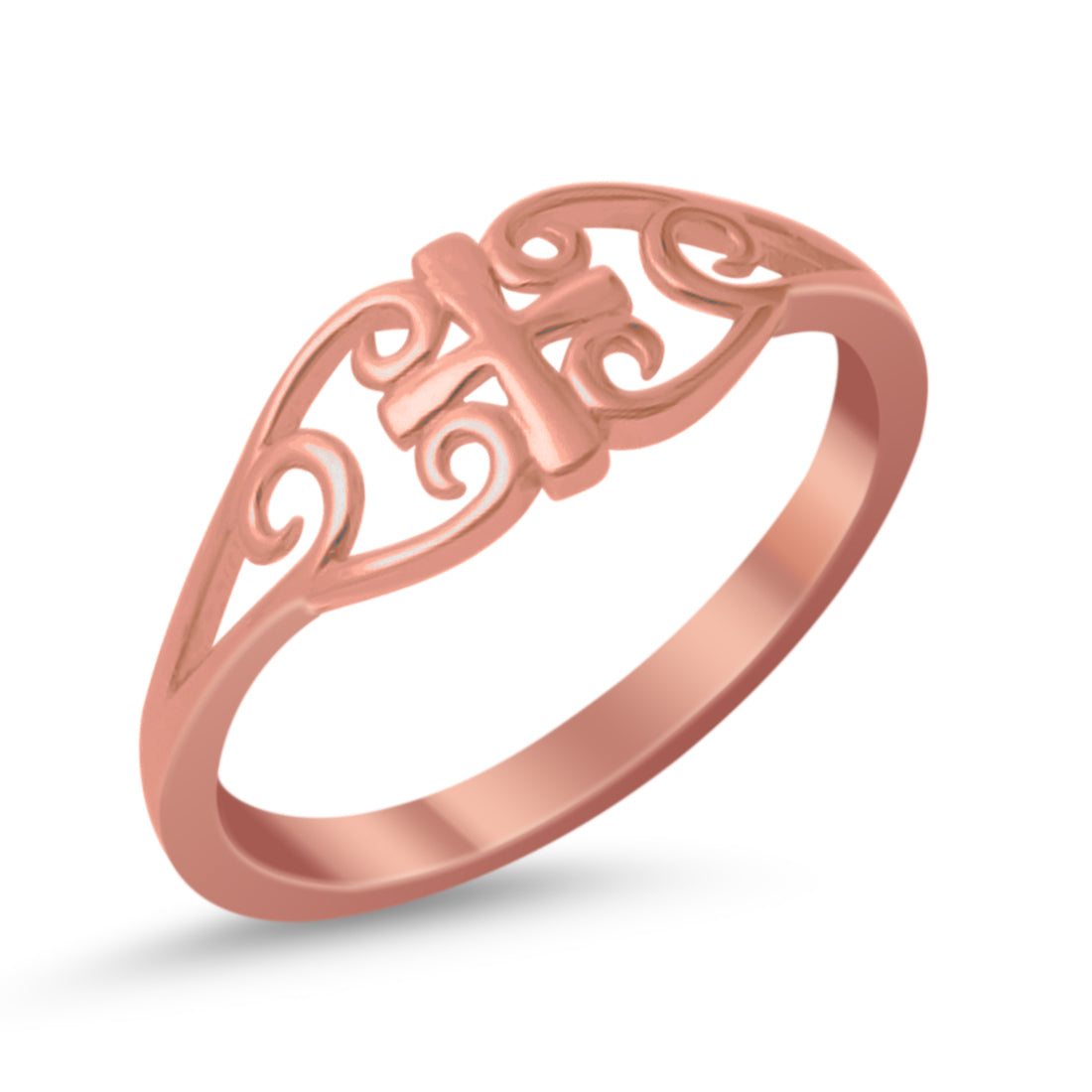 Filigree Celtic Cross Medieval Ring Band Rose Tone 925 Sterling Silver