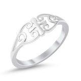Filigree Celtic Cross Medieval Ring Band 925 Sterling Silver