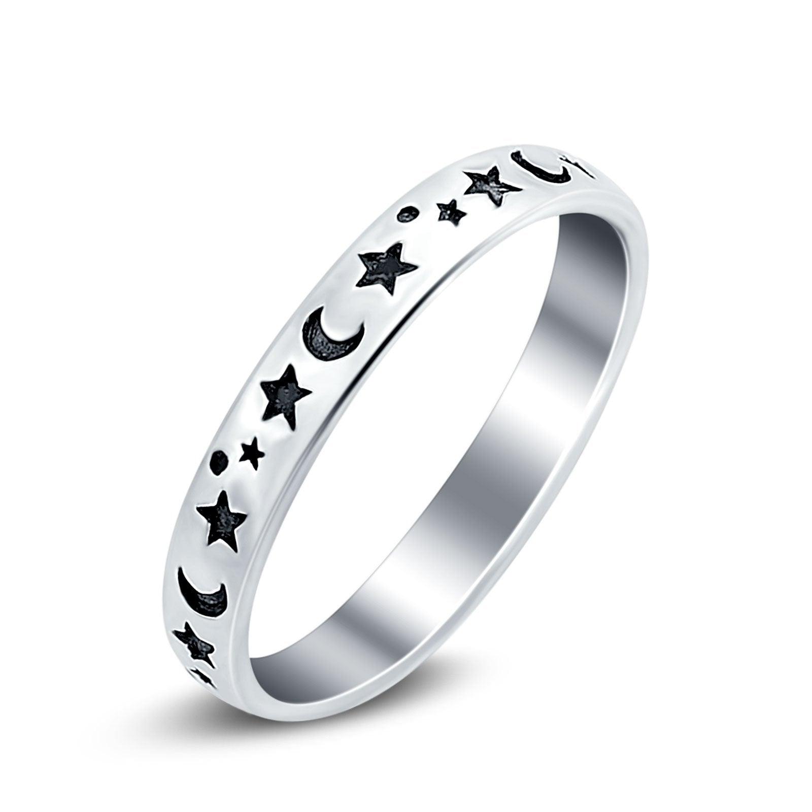 Stars Moon Ring Band 925 Sterling Silver Moon Star Band