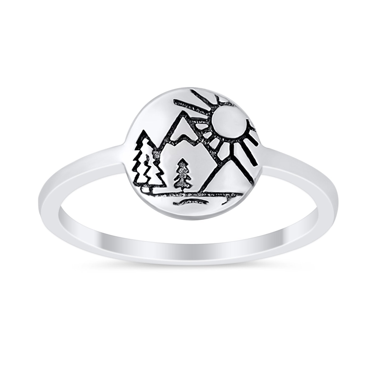 Sun Trees Band Nature Inspired Petite Dainty Thumb Ring 925 Sterling Silver
