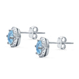 Wedding Stud Earrings Simulated Aquamarine CZ Round 925 Sterling Silver