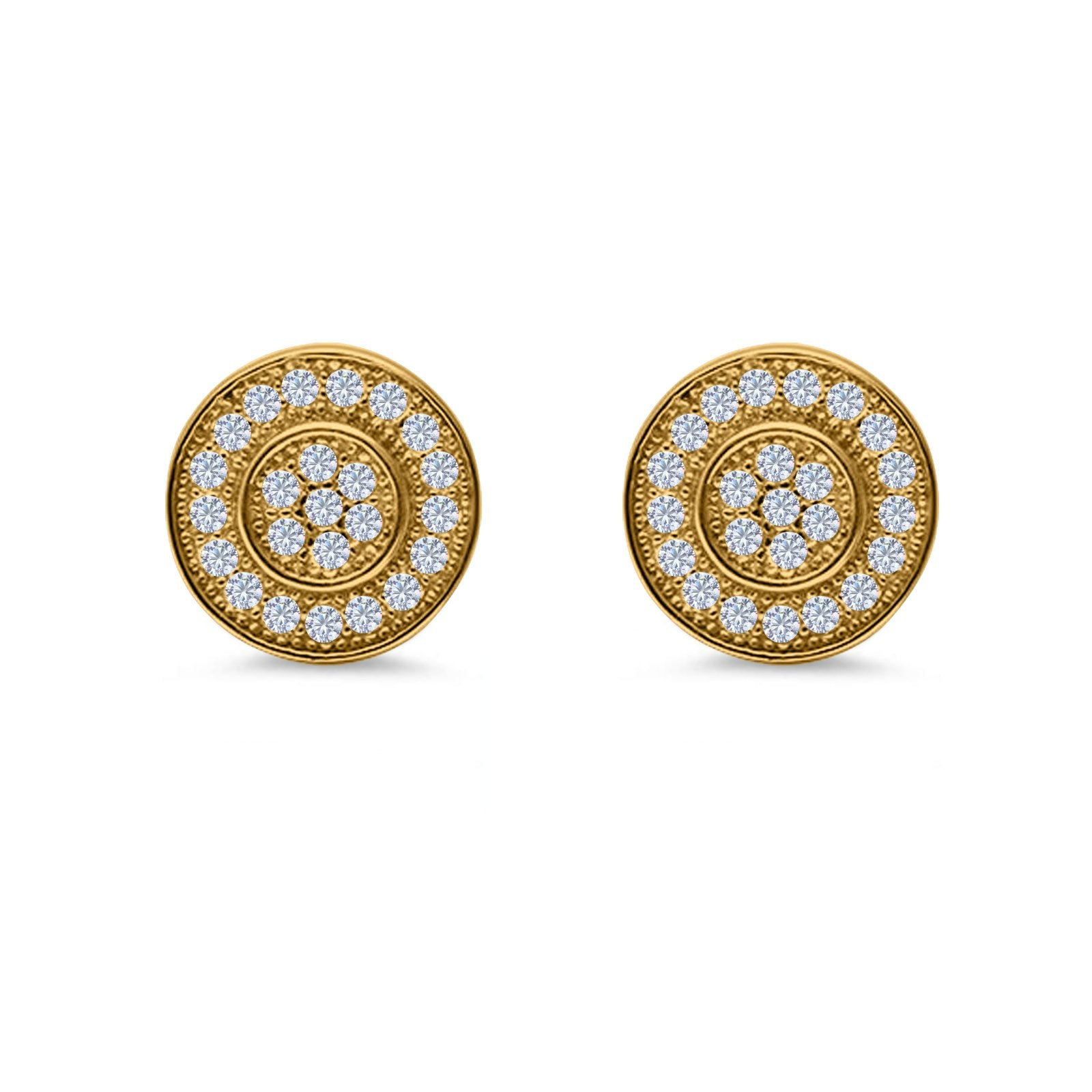 Micro Pave Stud Earrings Round Yellow Tone, Simulated CZ 925 Sterling Silver