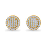 Stud Earrings Screw Back Round Design Yellow Tone, Simulated CZ 925 Sterling Silver