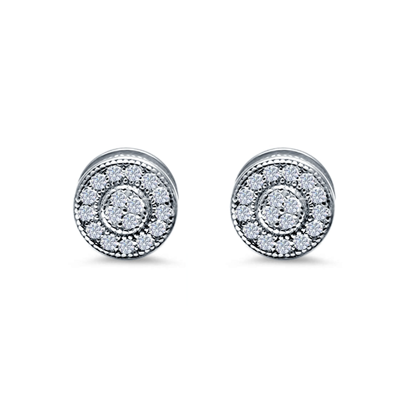 Round Design Simulated Cubic Zirconia Stud Earrings Screw Back 925 Sterling Silver 6mm