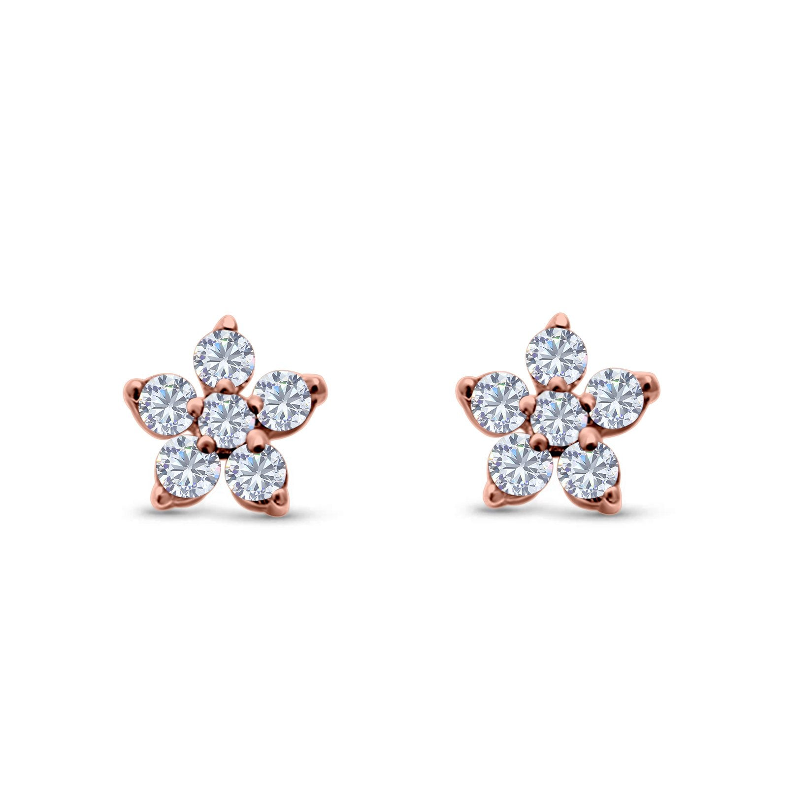 Cluster Flower Stud Earrings Round Rose Tone, Simulated CZ 925 Sterling Silver