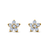 Cluster Flower Stud Earrings Round Yellow Tone, Simulated CZ 925 Sterling Silver
