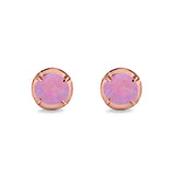 Solitaire Stud Earring Round Rose Tone, Lab Created Pink Opal 925 Sterling Silver (6.3mm)