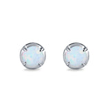 Solitaire Stud Earring Round Lab Created White Opal 925 Sterling Silver (6.3mm)