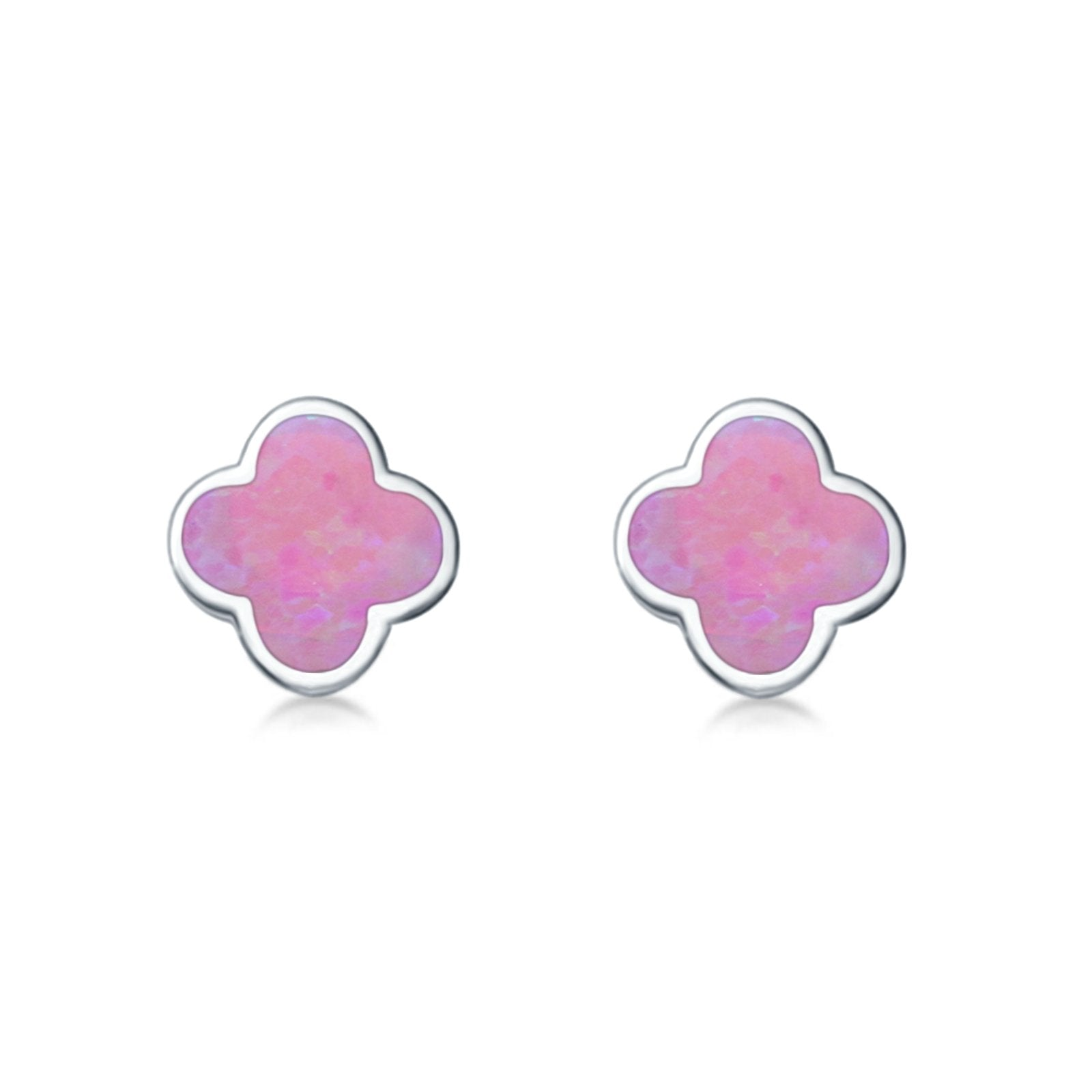 Clover Flower Stud Earring Lab Created Pink Opal 925 Sterling Silver (6.20mm)