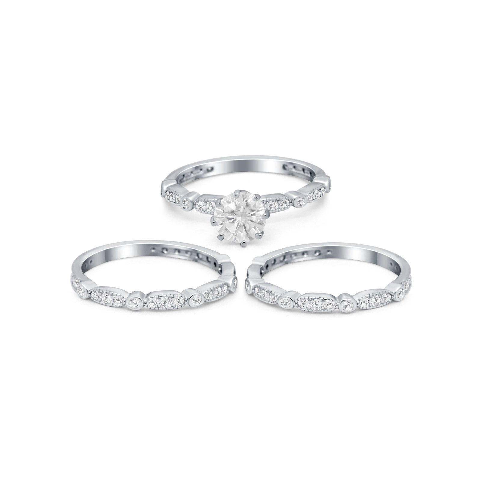Three Piece Bridal Vintage Round Simulated Cubic Zirconia Ring 925 Sterling Silver