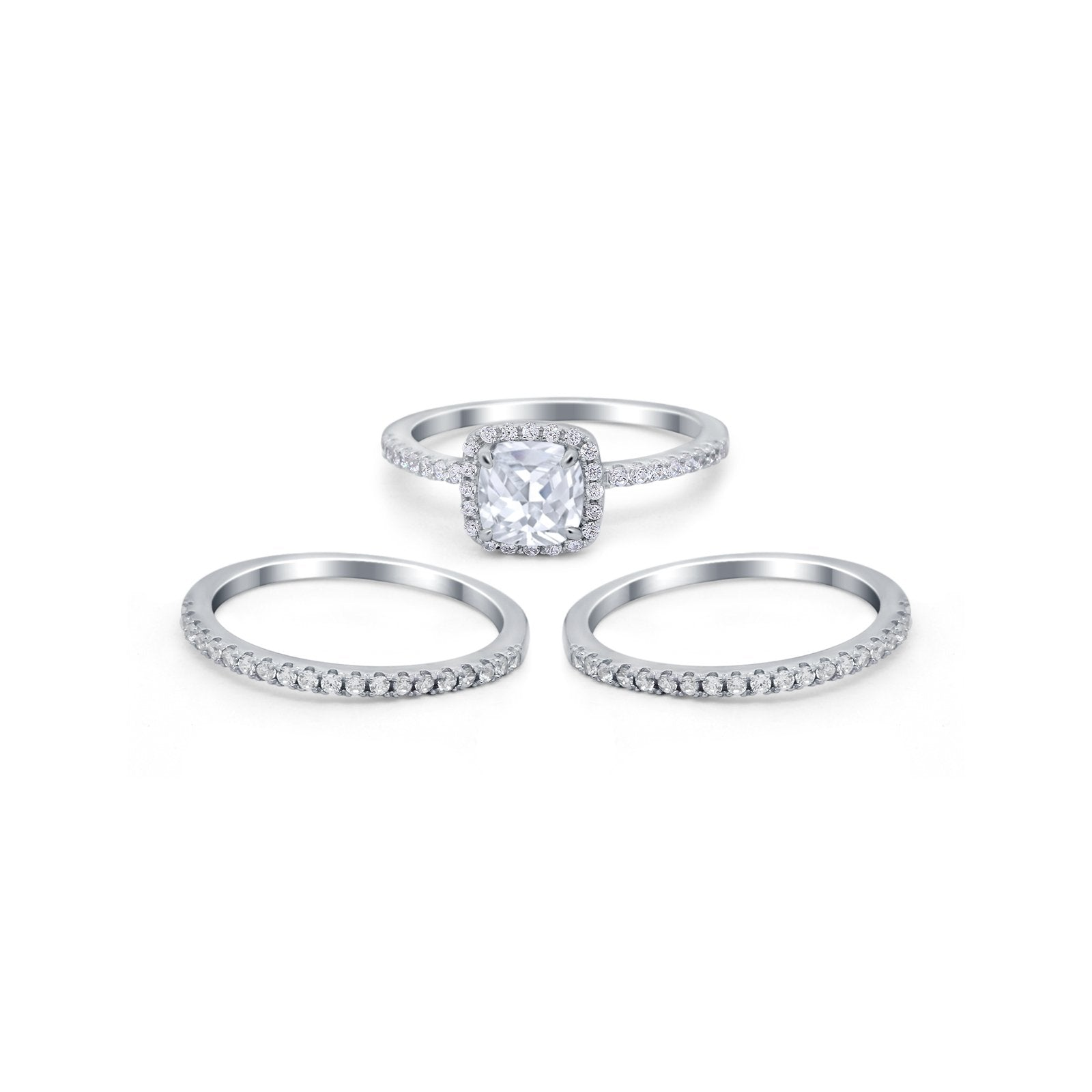 3Piece Wedding Ring Band Round Simulated Cubic Zirconia 925 Sterling Silver