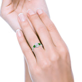 Fashion Promise Ring 3-Stone Oval Simulated Emerald CZ 925 Sterling Silver