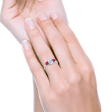 Fashion Promise Ring 3-Stone Oval Simulated Ruby CZ 925 Sterling Silver