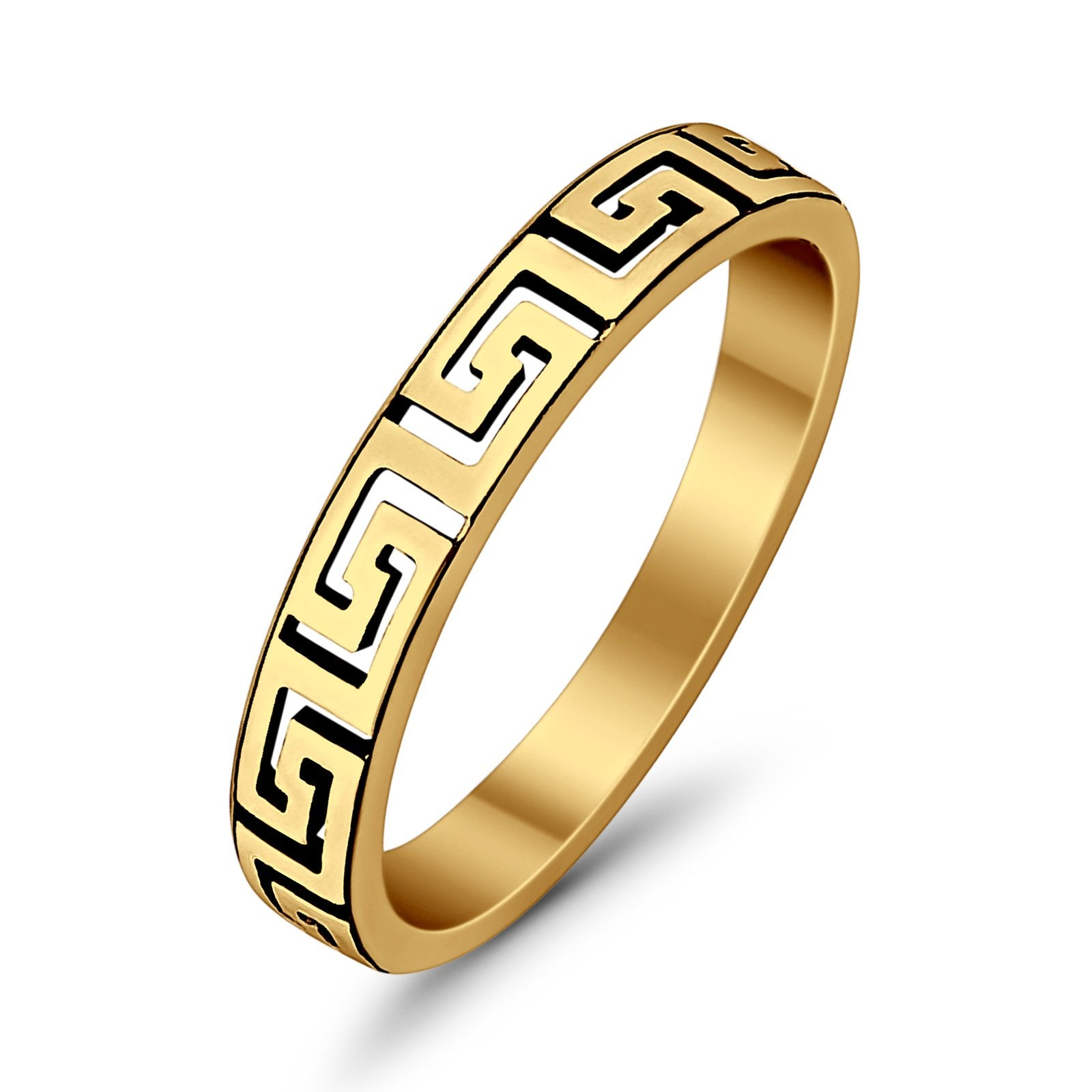 Greek Key Spiral Band Yellow Tone Ring Solid 925 Sterling Silver