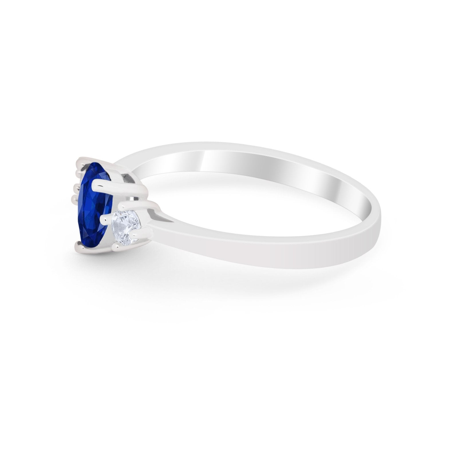 Three Stone Wedding Ring Pear Simulated Blue Sapphire CZ 925 Sterling Silver