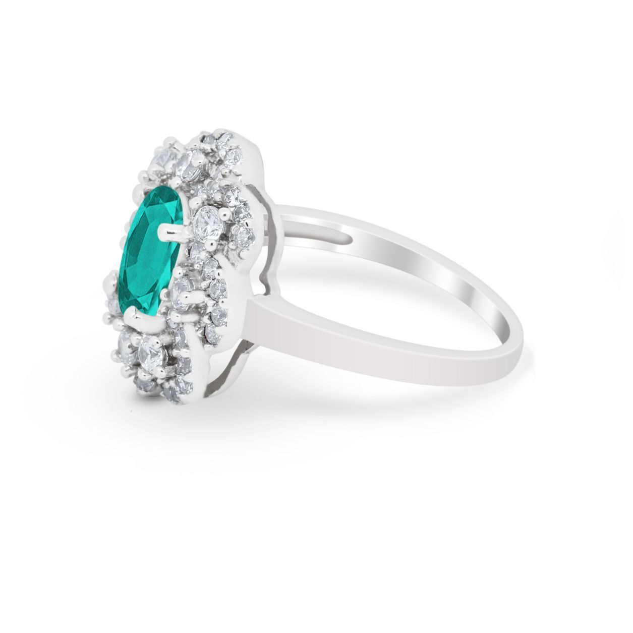 Art Deco Oval Engagement Ring Simulated Paraiba Tourmaline CZ 925 Sterling Silver