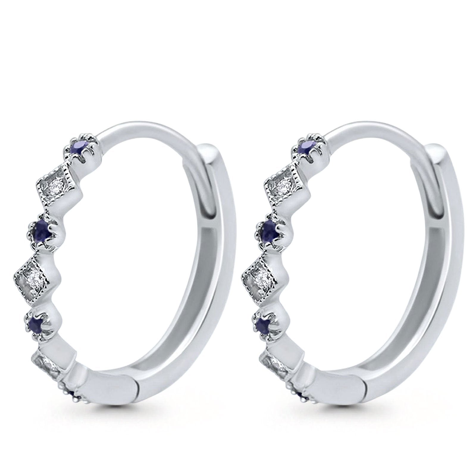 14K White Gold .16ct G SI Diamond & Blue Sapphire Hoop Huggie Earrings