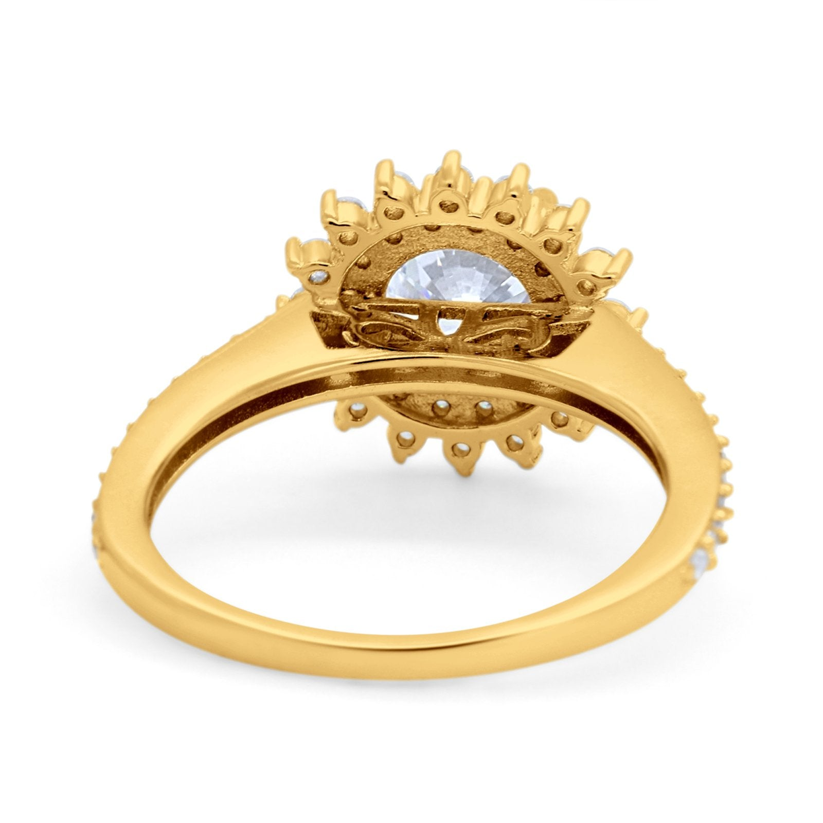 14K Yellow Gold Halo Starburst Flower Engagement Rings Round Simulated CZ Size 7
