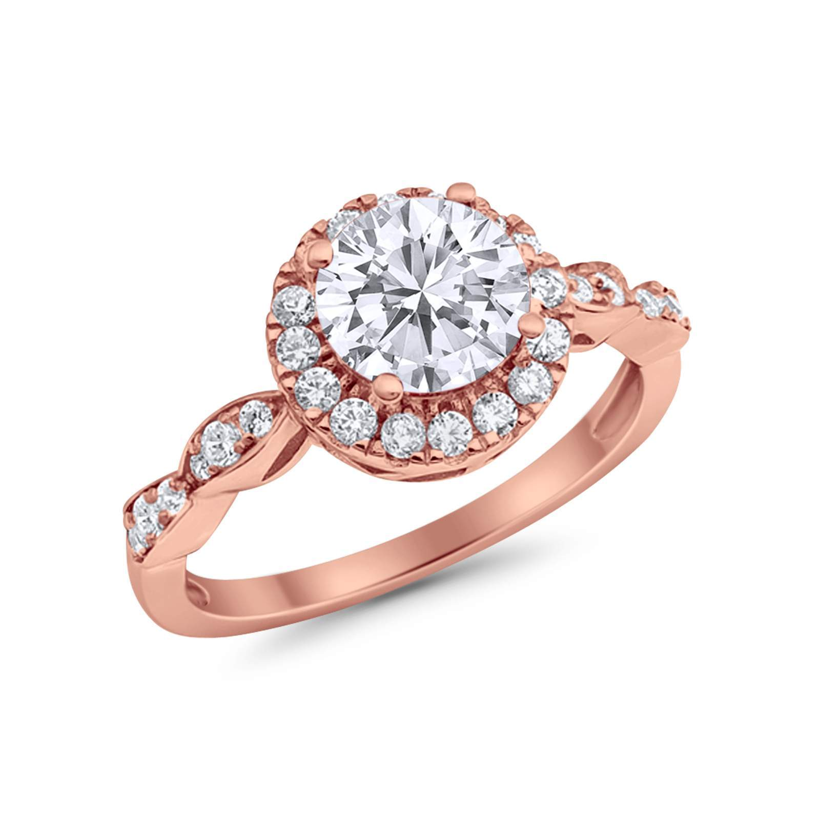 Art Deco Design Engagement Ring Rose Tone, Simulated Cubic Zirconia 925 Sterling Silver