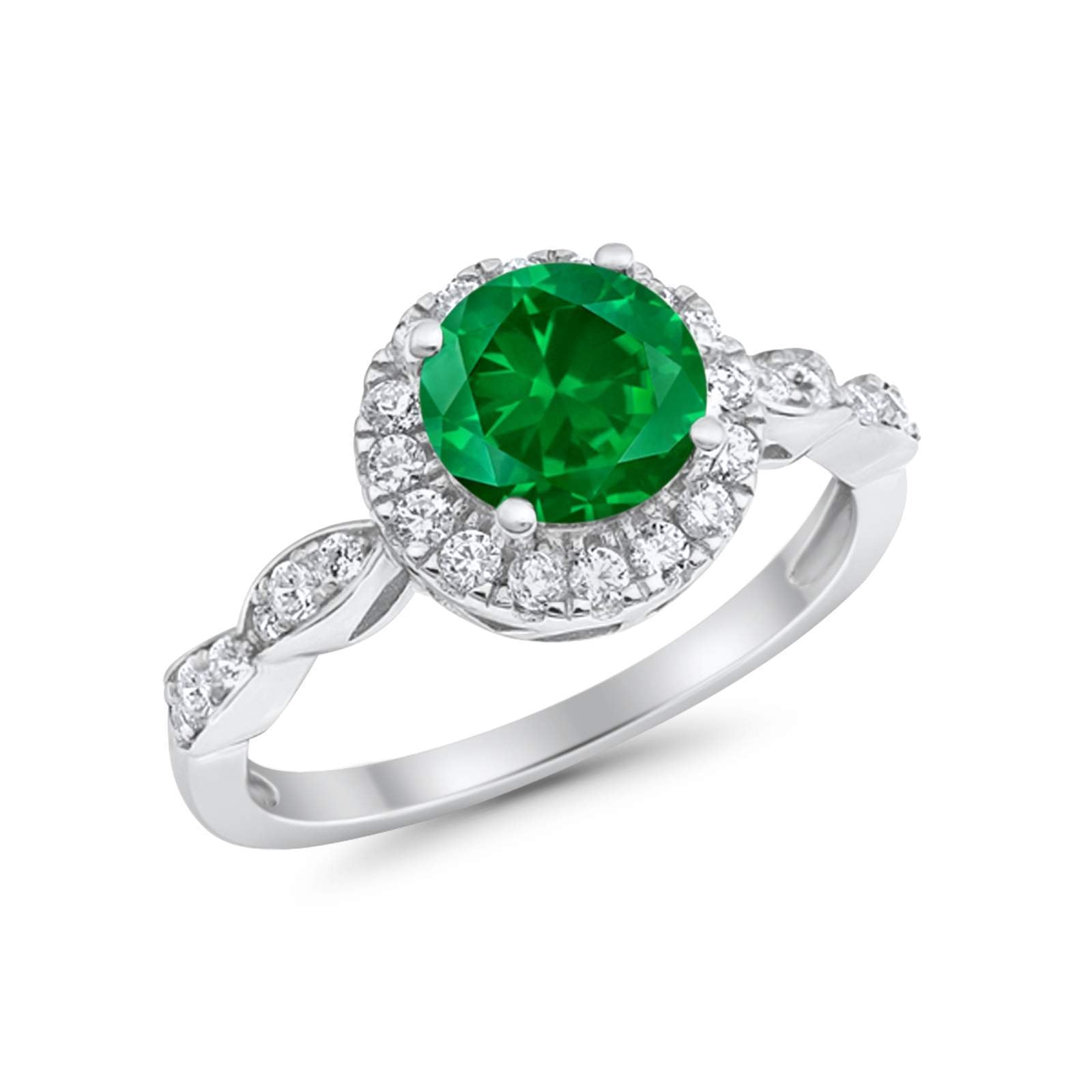 Art Deco Design Engagement Ring Simulated Green Emerald CZ 925 Sterling Silver