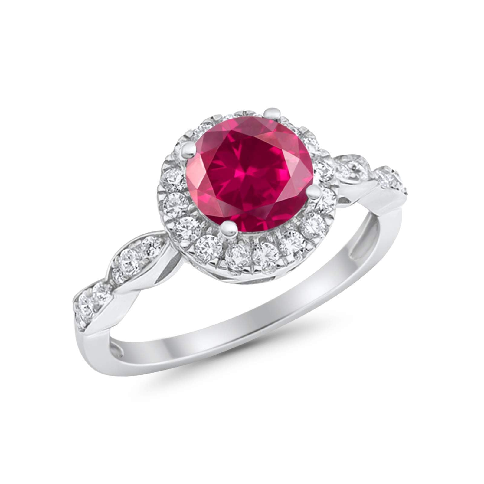Art Deco Design Engagement Ring Simulated Ruby CZ 925 Sterling Silver