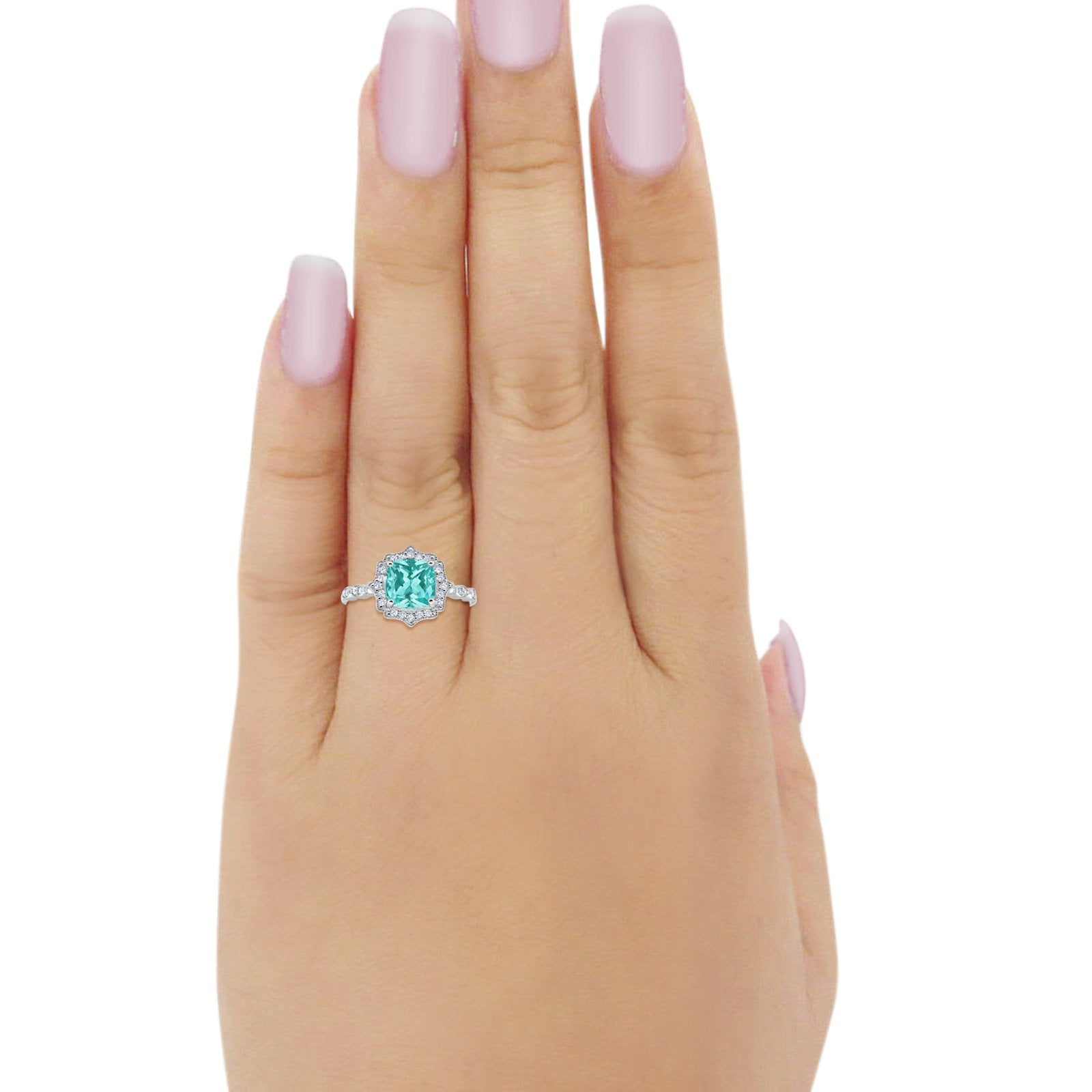 Halo Art Deco Engagement Ring Cushion Simulated Paraiba Tourmaline CZ 925 Sterling Silver