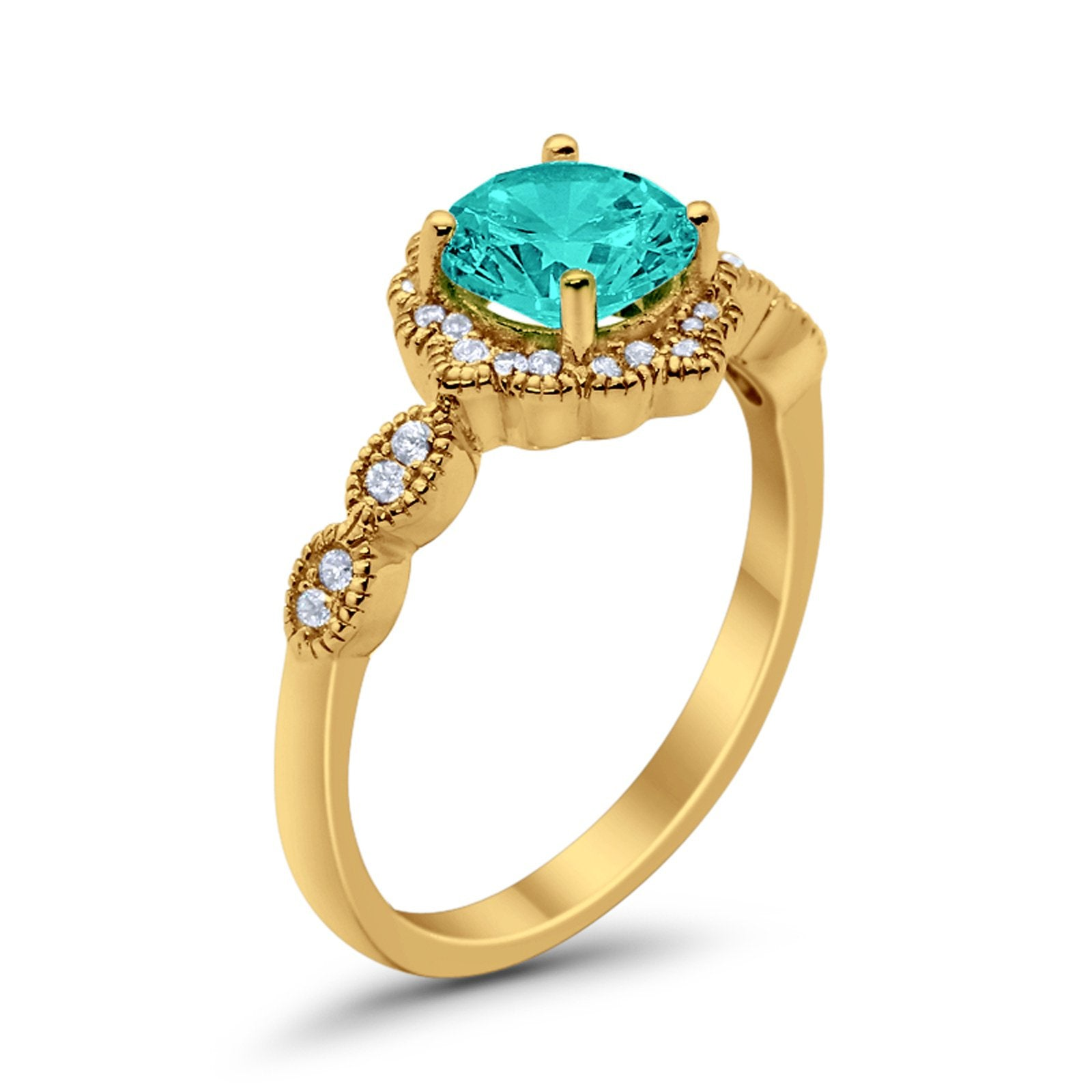 Floral Wedding Ring Round Yellow Tone, Simulated Paraiba Tourmaline CZ 925 Sterling Silver
