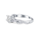 Twisted Shank Infinity Wedding Ring Simulated Cubic Zirconia 925 Sterling Silver