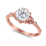 Art Deco Design Fashion Ring Round Rose Tone, Simulated CZ 925 Sterling Silver