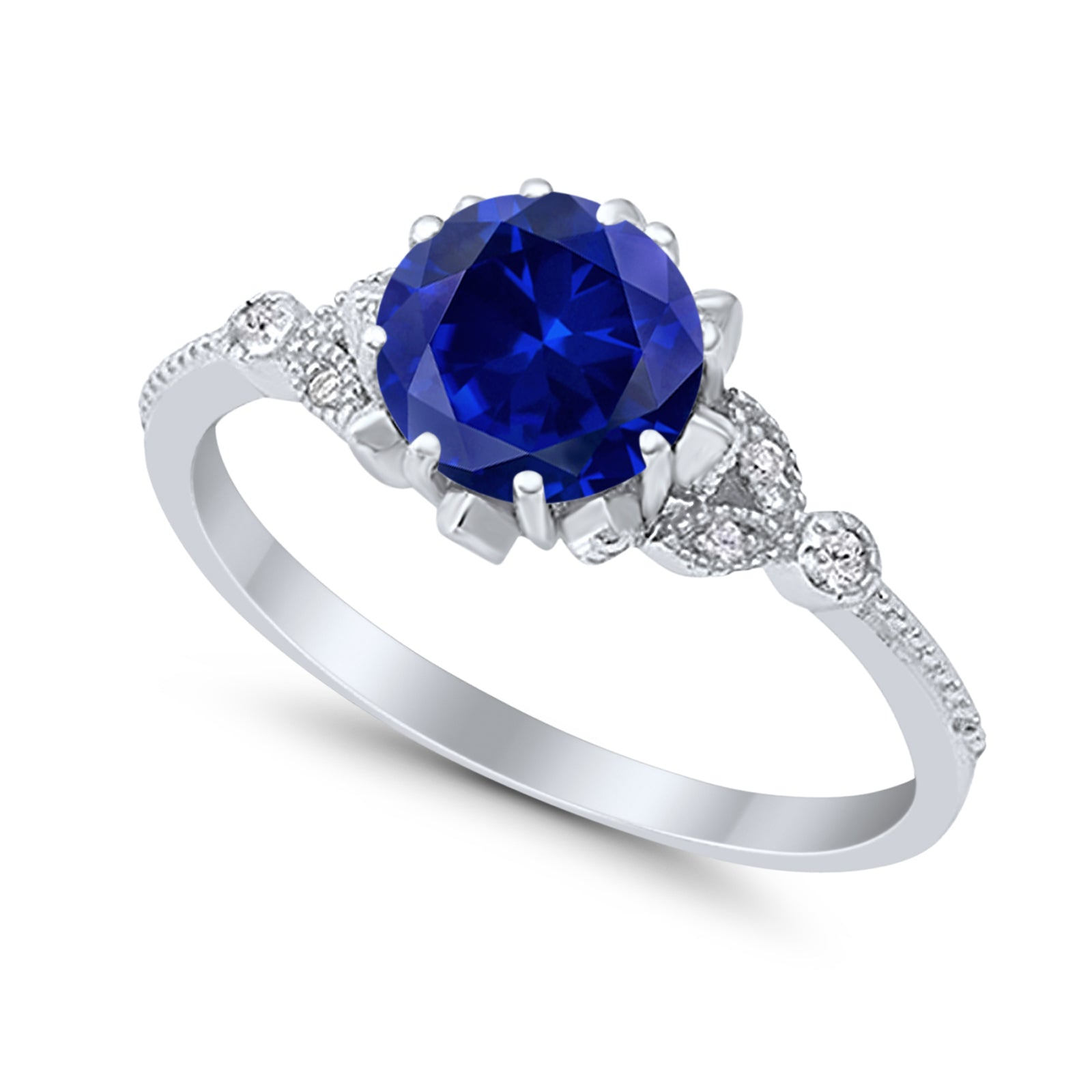 Art Deco Design Fashion Ring Round Simulated Blue Sapphire CZ 925 Sterling Silver