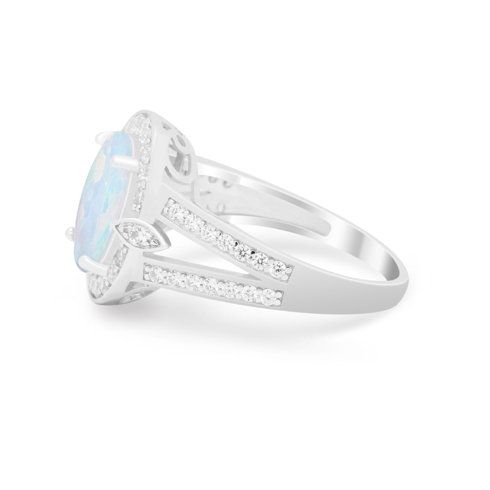 Art Deco Split Shank Engagement Bridal Ring Lab Created White Opal 925 Sterling Silver