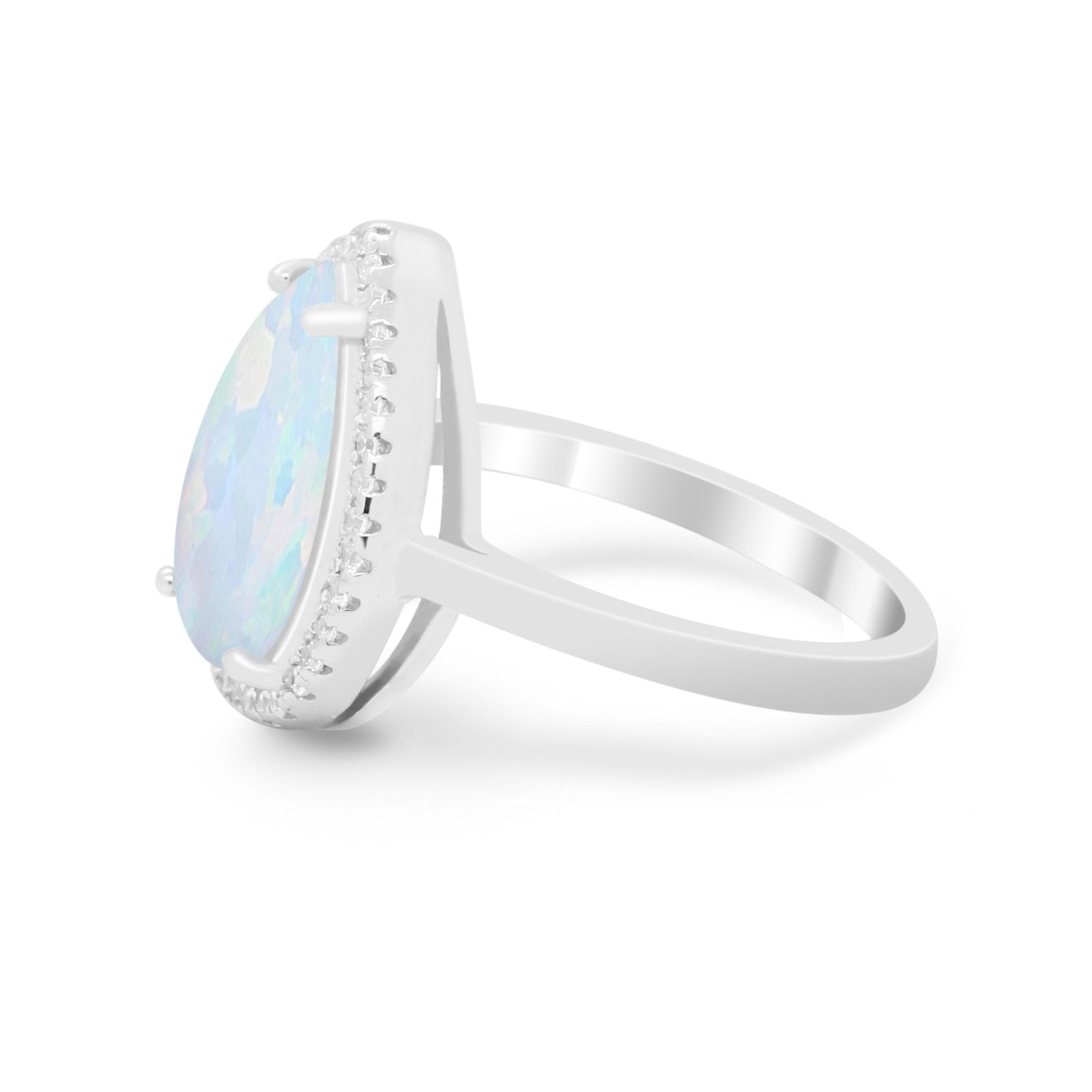 Halo Teardrop Wedding Ring Pear Round Lab Created White Opal 925 Sterling Silver