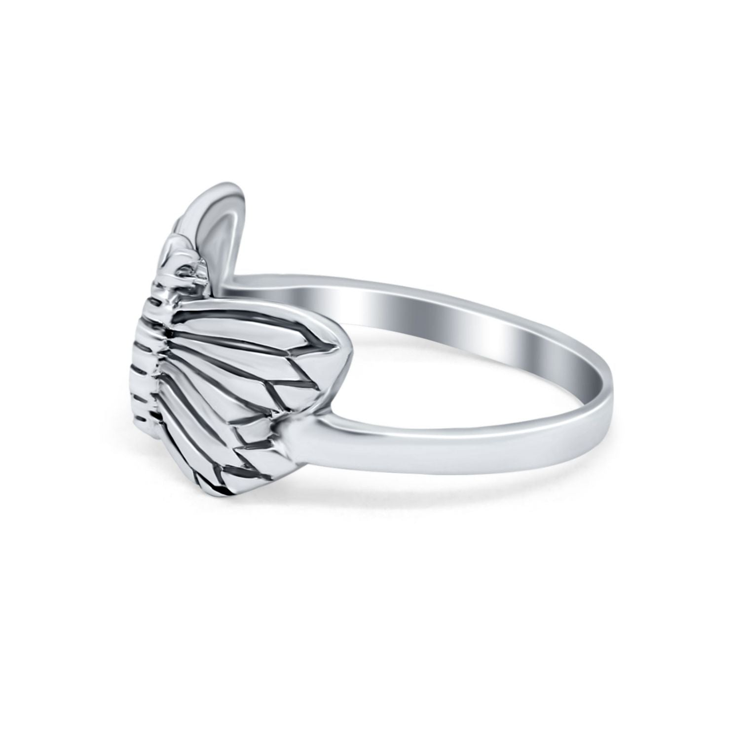 Sterling Silver Fashion Butterfly Ring Band Oxidized Round 925 Sterling Silver