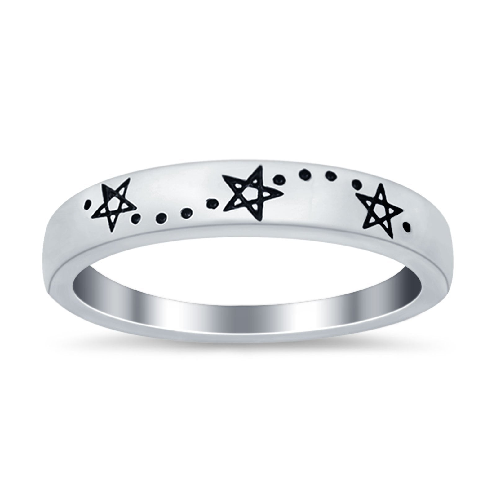 Star Band Plain Ring 925 Sterling Silver (4mm)