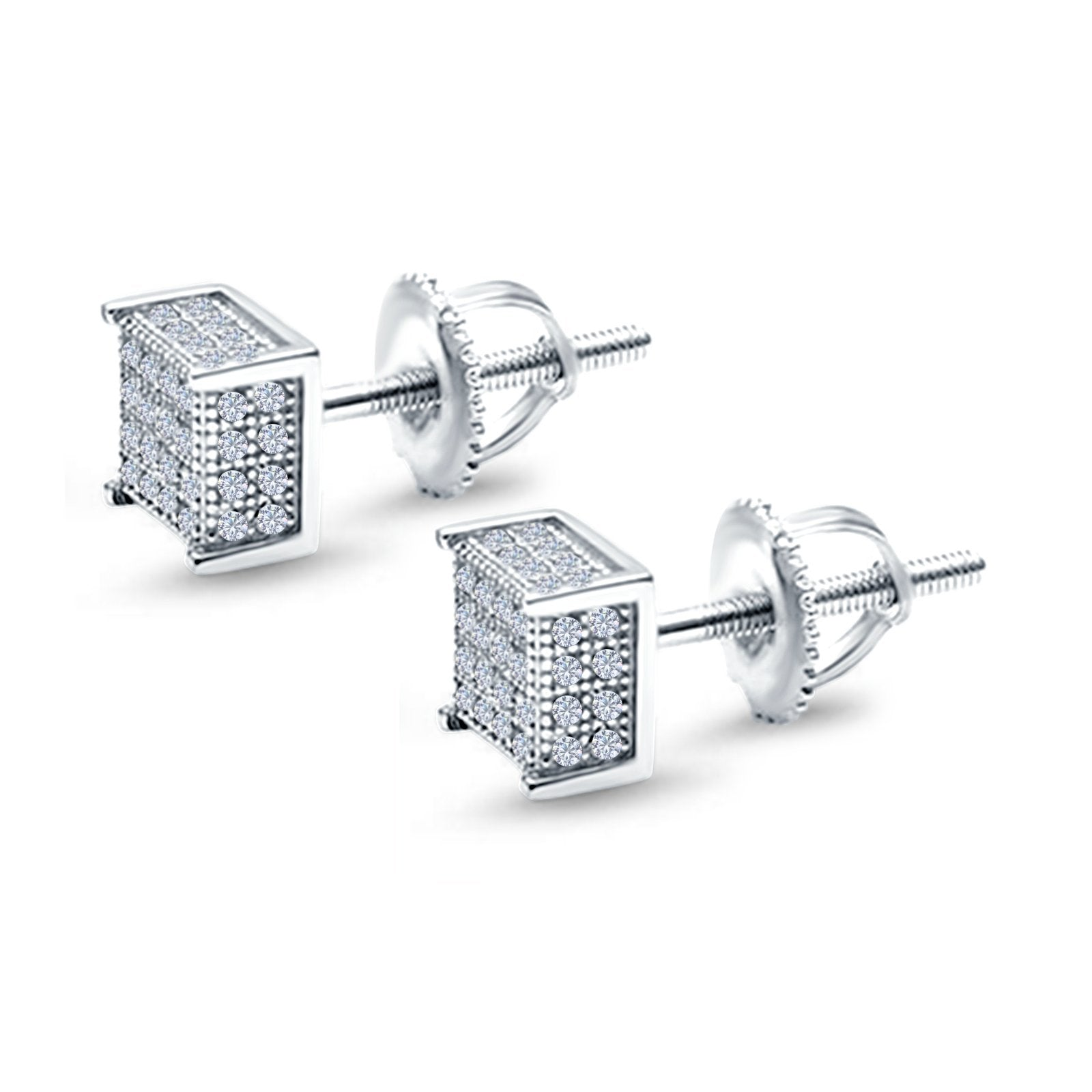 Square Stud Earrings Simulated CZ Accent Screw Back 925 Sterling Silver (6mm)
