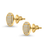 Hip Hop Round Stud Earrings Yellow Tone, Simulated Cubic Zirconia Screw Back 925 Sterling Silver