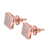 Square Stud Earrings Pave Rose Tone, Simulated CZ Screw-Back 925 Sterling Silver