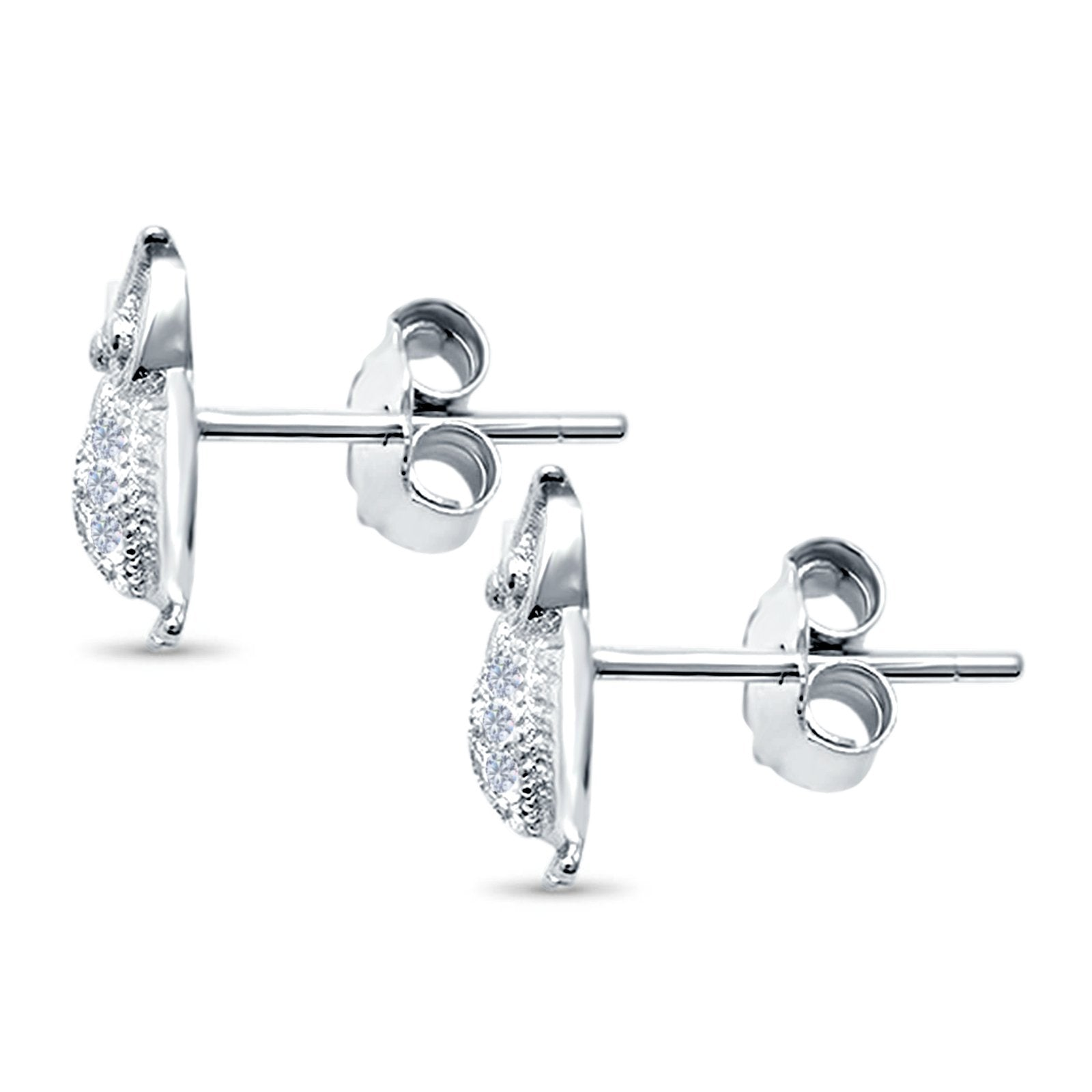 Lucky Owl Stud Earrings Round Pave Simulated CZ 925 Sterling Silver