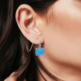 Halo Drop Dangle Earrings Cushion Lab Created Blue Opal Fish Hook 925 Sterling Silver (22mm)