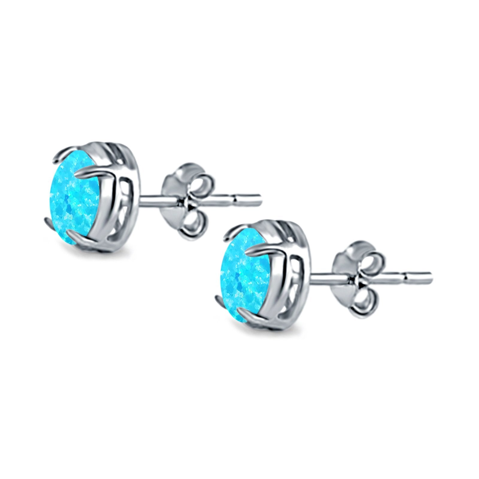 Solitaire Stud Earring Round Lab Created Light Blue Opal 925 Sterling Silver (6.3mm)