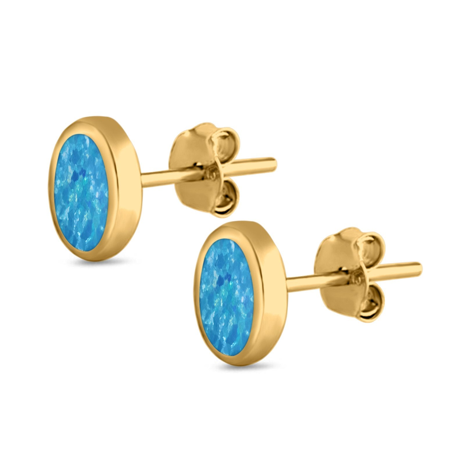 Solitaire Oval Stud Earrings Yellow Tone, Lab Created Blue Opal 925 Sterling Silver