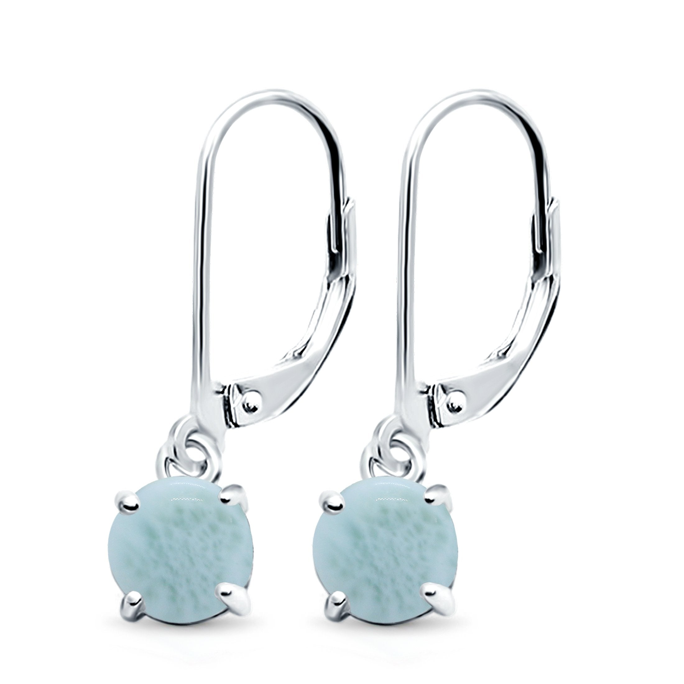 Round Natural Larimar Leverback Earrings 925 Sterling Silver (25.4mm)