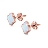 Clover Flower Stud Earring Rose Tone, Lab Created White Opal 925 Sterling Silver (6.20mm)