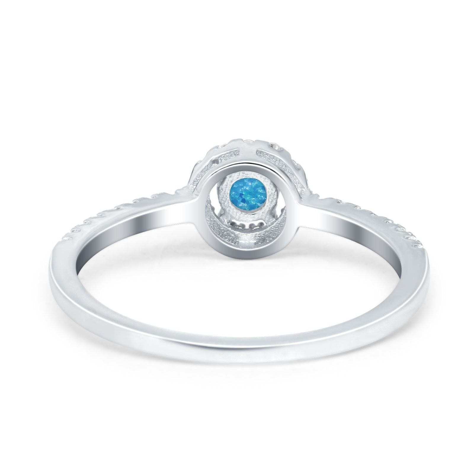 Petite Dainty Halo Ring Round Lab Created Blue Opal 925 Sterling Silver