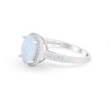 Oval  Engagement Ring Round Lab Created White Opal 925 Sterling Silver