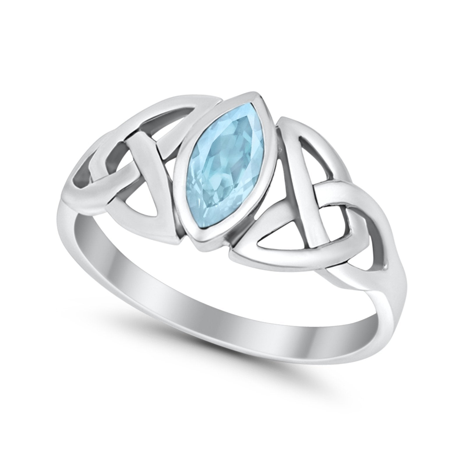 Celtic Bezel Marquise Solitaire Ring Simulated Aquamarine CZ 925 Sterling Silver
