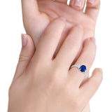 Fashion Promise Simulated Blue Sapphire CZ Ring 925 Sterling Silver